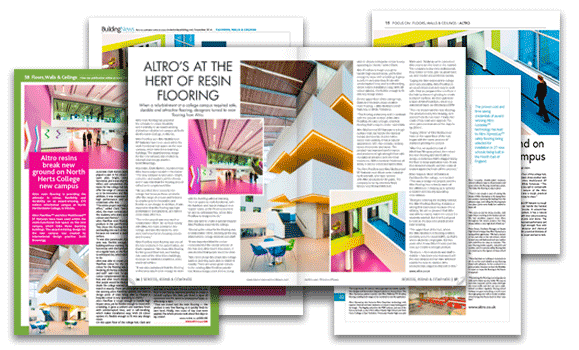 Magazine layouts of PR articles for Altro UK
